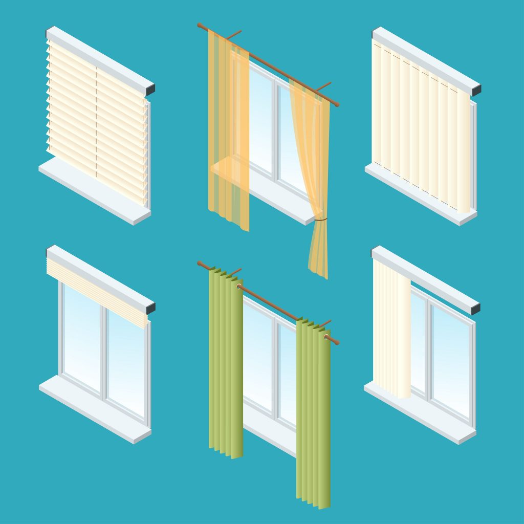 Different styles of window treatments